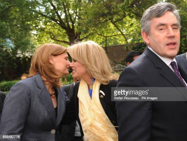 Sarah Brown and the Prime Minister Gordon Brown meet Gurkha campaigner Joanna Lumley in the garden of Downing Street today after it was announced...