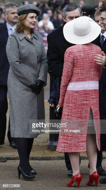 Sarah Brown left wife of Britain's Prime Minister Gordon Brown is seen with MarieFrance van Heel wife of Britain's Minister for Culture Media and...