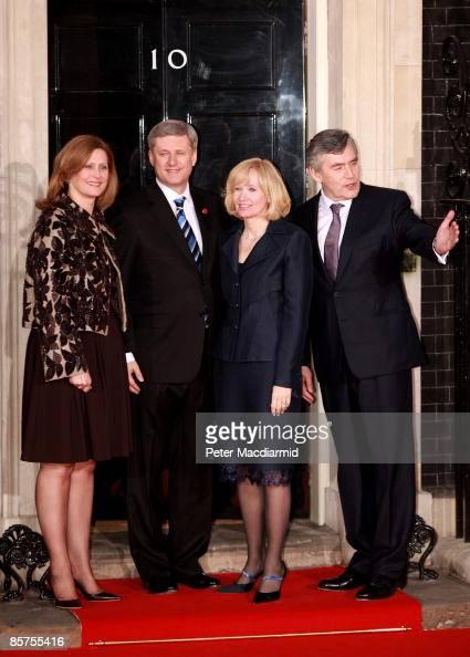 Sarah Brown wife of Gordon Brown Canadian Prime Minister Stephen Harper his wife Laureen Harper and British Prime Minister Gordon Brown arrive at...