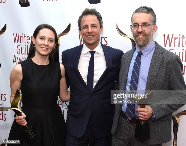 Sarah Burns Seth Meyers and David McMahon pose backstage with awards during 69th Writers Guild Awards New York Ceremony at Edison Ballroom on...