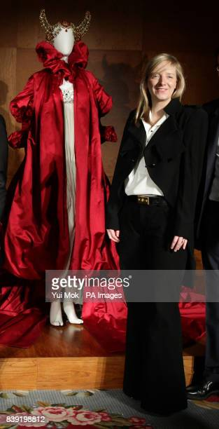 Sarah Burton the creative director of fashion label Alexander McQueen attending the press presentation of Alexander McQueen Savage Beauty an upcoming...