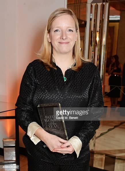 Sarah Burton winner of the Designer of the Year award poses at the Harper's Bazaar Women Of The Year awards 2014 at Claridge's Hotel on November 4...