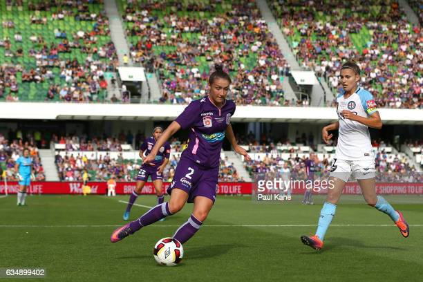 Sarah Carroll of the Perth Glory looks to clear the ball during the 2017 WLeague Grand Final match between the Perth Glory and Melbourne City FC at...