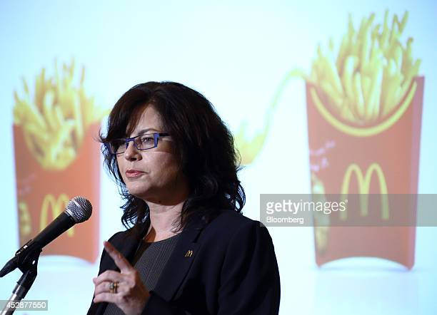 Sarah Casanova chief executive officer of McDonald's Holdings Co Japan Ltd speaks during a news conference in Tokyo Japan on Tuesday July 29 2014...