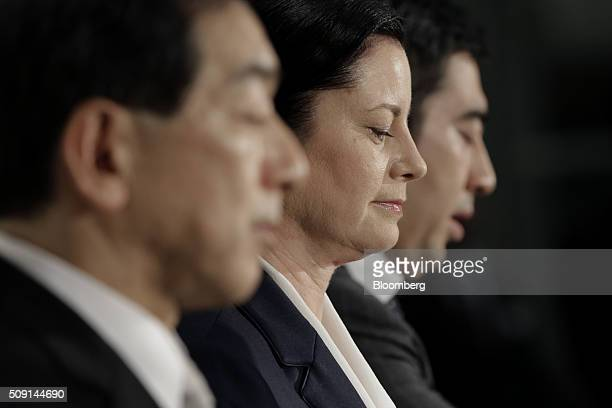 Sarah Casanova chief executive officer of McDonald's Holdings Co Japan Ltd center attends a news conference in Tokyo Japan on Tuesday Feb 9 2016...