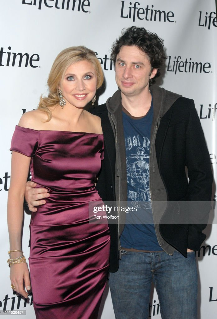 Sarah Chalke and Zach Braff during Lifetime TV Presents 'Why I Wore Lipstick to My Mastectomy' Screening at Social Hollywood in Hollywood CA United...