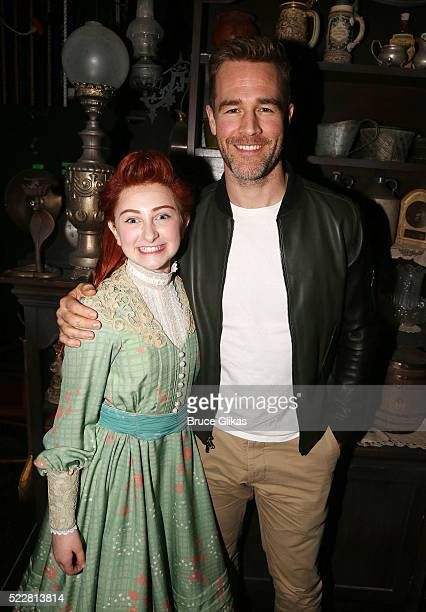 Sarah Charles Lewis and James Van Der Beek pose backstage at the musical 'Tuck Everlasting' on Broadway at The Broadhurst Theatre on April 20 2016 in...