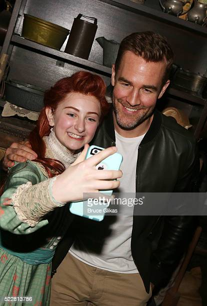 Sarah Charles Lewis and James Van Der Beek pose for a selfie backstage at the musical 'Tuck Everlasting' on Broadway at The Broadhurst Theatre on...