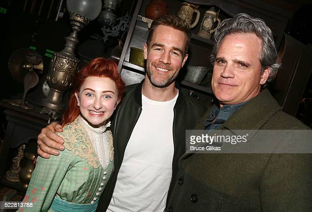 Sarah Charles Lewis James Van Der Beek and Michael Park pose backstage at the musical 'Tuck Everlasting' on Broadway at The Broadhurst Theatre on...