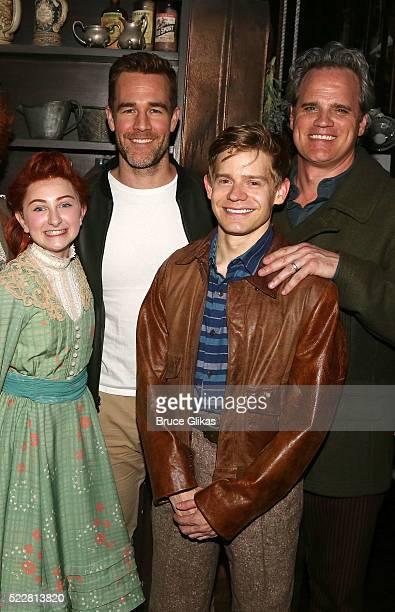 Sarah Charles Lewis James Van Der Beek Andrew Keenan Bolger and Michael Park pose backstage at the musical 'Tuck Everlasting' on Broadway at The...