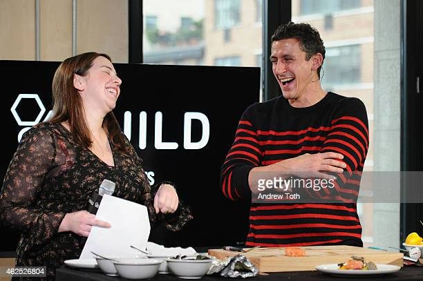 Sarah Chazan and Chef Brad Farmerie attend AOL Build speaker series presents Chef Brad Farmerie at AOL Studios In New York on January 30 2015 in New...