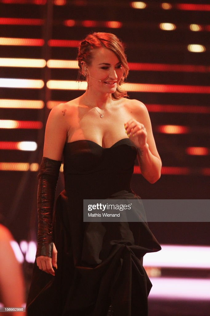 Sarah Conner attends the fourth and final 'X-Factor' Show on November 25, 2012 in Cologne, Germany.
