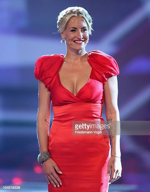 Sarah Connor poses during the X Factor Live show on September 28 2010 in Cologne Germany