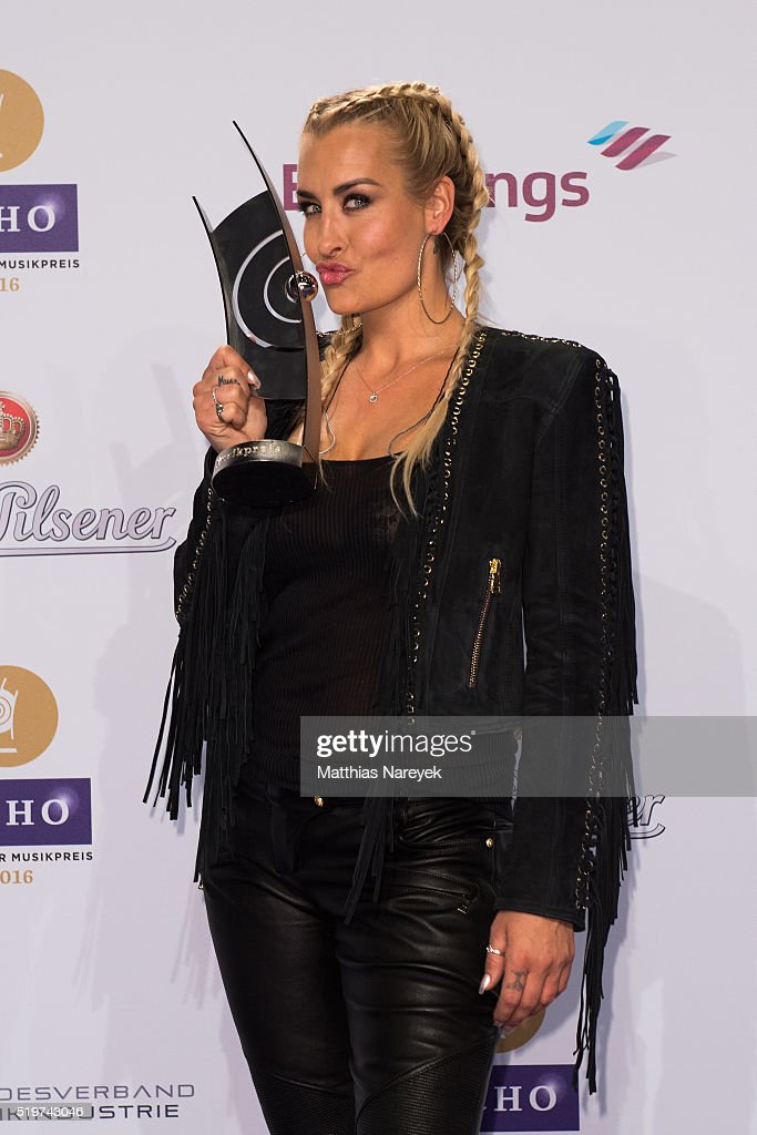 Sarah Connor poses with her award at the winners board during the Echo Award 2016 on April 7 2016 in Berlin Germany