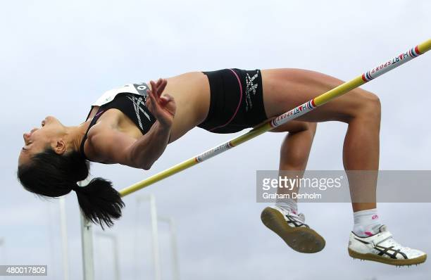 Sarah Cowley of New Zealand competes in the Women's high jump open during the IAAF Melbourne World Challenge at Olympic Park on March 22 2014 in...