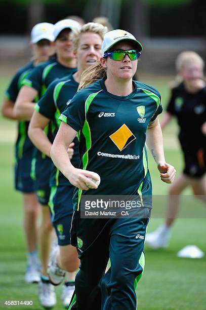 Sarah Coyte leads the pack during the Southern Stars training at Adelaide Oval on November 3 2014 in Adelaide Australia