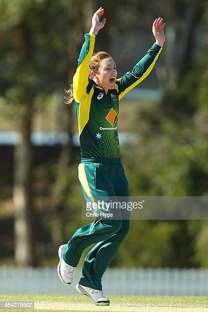 Sarah Coyte of Australia apeals for a wicket during the women's international series One Day match between the Australian Southern Stars and Pakistan...