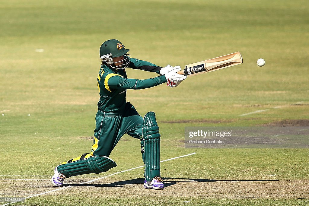 Sarah Coyte of Australia bats during the Women's International Twenty20 match between the Australian Southern Stars and New Zealand at Junction Oval on January 22, 2013 in Melbourne, Australia.