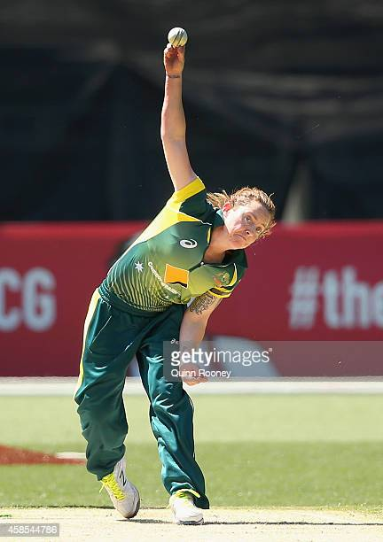 Sarah Coyte of Australia bowls during game three of the International Women's Twenty20 match between Australia and the West Indies at Melbourne...