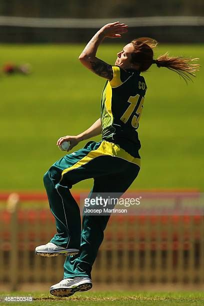 Sarah Coyte of Australia bowls during the women's International Twenty20 match between Australia and the West Indies at North Sydney Oval on November...