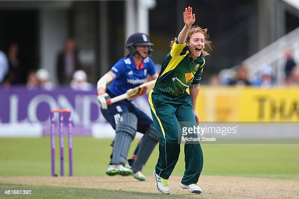 Sarah Coyte of Australia captures the lbw wicket of Lydia Greenaway of England during the 2nd Royal London ODI of the Women's Ashes Series between...