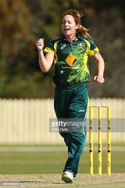 Sarah Coyte of Australia celebrates after dismissing Sidra Nawaz of Pakistan during the women's international series T20 match between the Australian...
