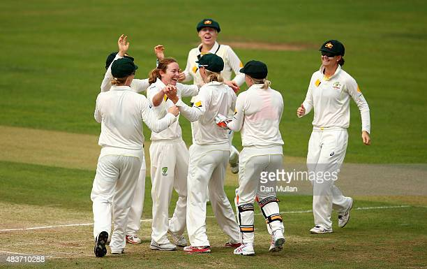 Sarah Coyte of Australia celebrates taking the wicket of Heather Knight of England during day two of the Kia Women's Test of the Women's Ashes Series...