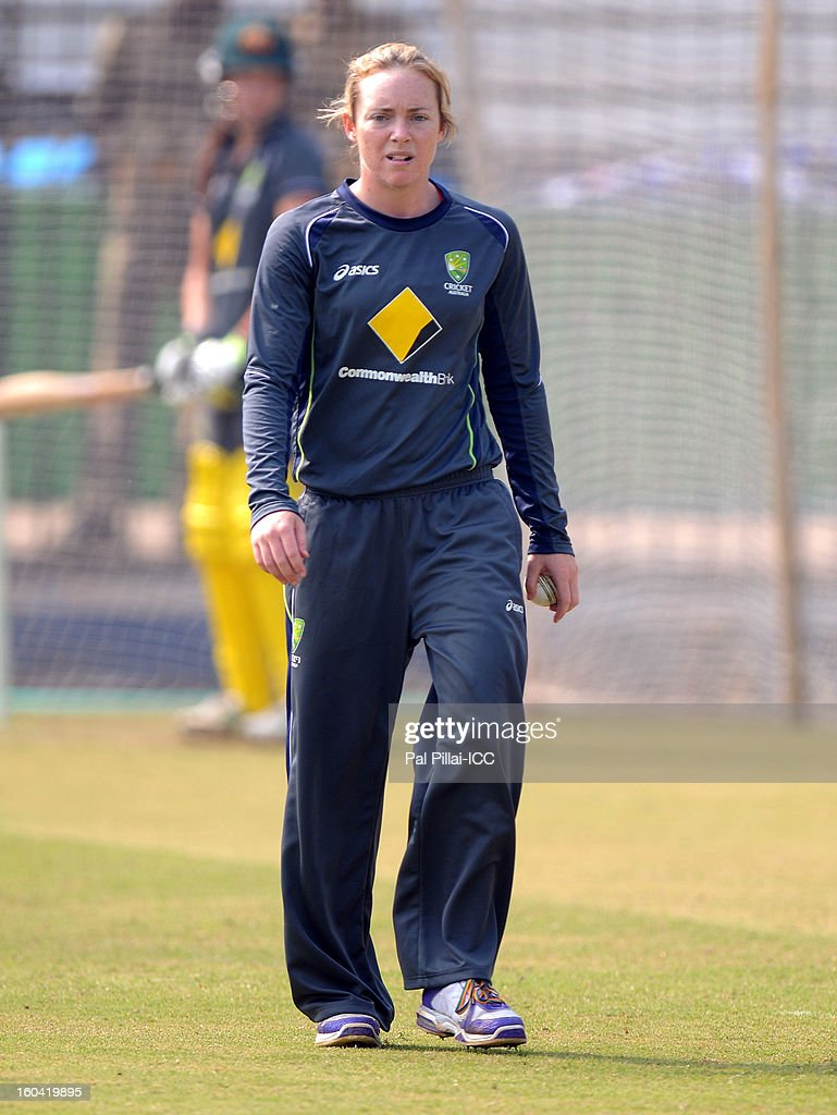 Sarah Coyte of Australia walks back to bowl during a net session at the Barabati stadium on January 31, 2013 in Cuttack,Orissa, India.