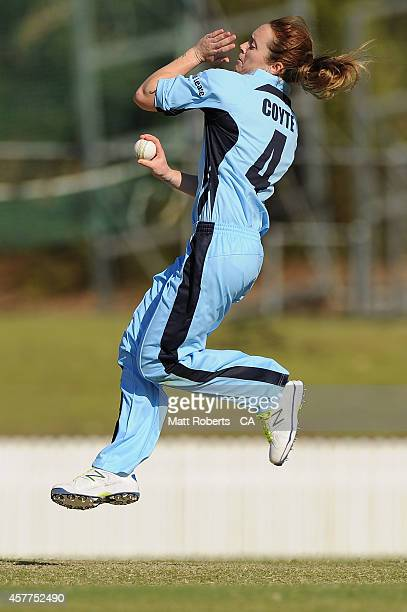 Sarah Coyte of New South Wales bowls during the women's T20 match between Queensland and New South Wales at Allan Border Field on October 24 2014 in...
