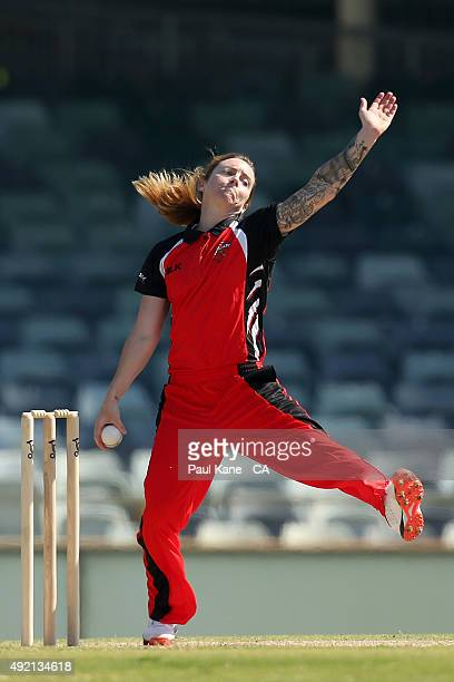 Sarah Coyte of South Australia bowls during the round one WNCL match between New South Wales and South Australia at WACA on October 10 2015 in Perth...