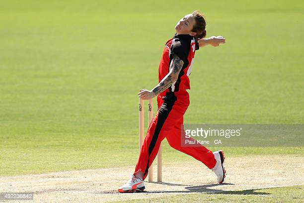 Sarah Coyte of South Australia bowls during the round one WNCL match between Western Australia and South Australia at WACA on October 11 2015 in...