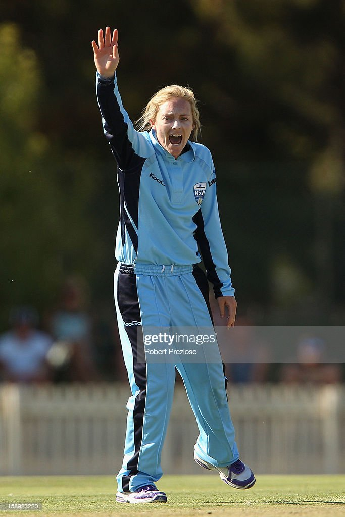 Sarah Coyte of the Breakers appeals successfully for the wicket of Kelly Applebee of the Spirit during the Women's Twenty20 match between the Victoria Spirit and the New South Wales Breakers at Junction Oval on January 4, 2013 in Melbourne, Australia.