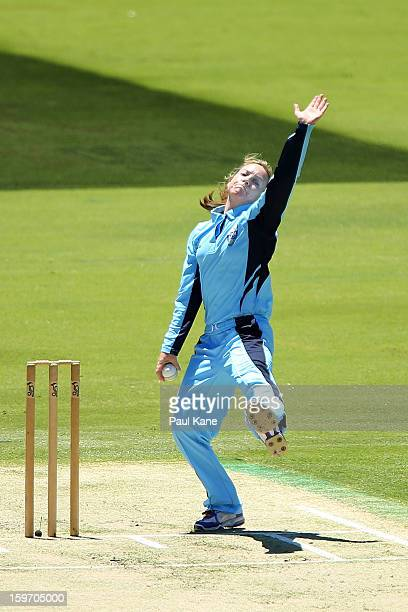 Sarah Coyte of the Breakers bowls during the women's Twenty20 final match between the NSW Breakers and the Western Australia Fury at WACA on January...