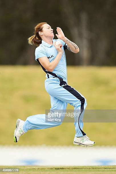 Sarah Coyte of the Breakers bowls during the WT20 match between New South Wales Breakers and ACT Meteors at Blacktown International Sportspark on...