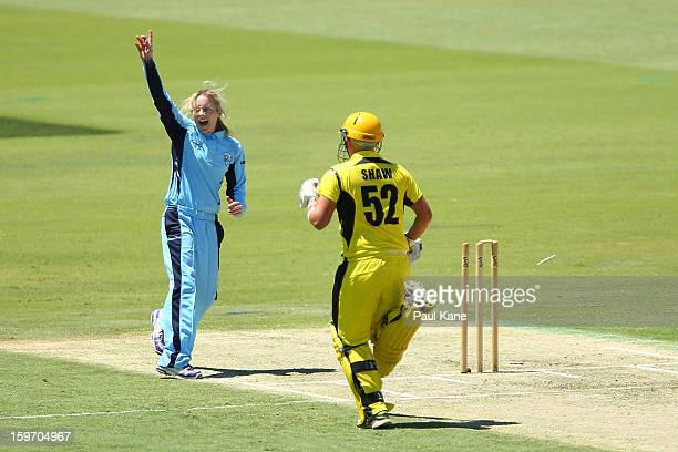 Sarah Coyte of the Breakers celebrates the run out of Nicola Shaw of the Fury during the women's Twenty20 final match between the NSW Breakers and...