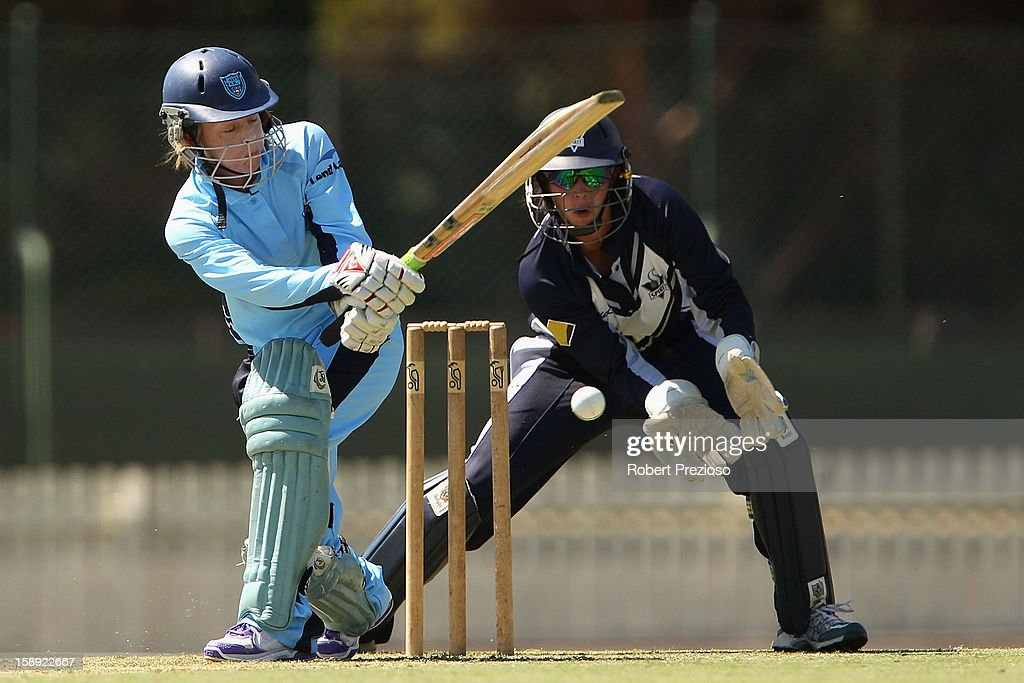 Sarah Coyte of the Breakers plays a shot during the Women's Twenty20 match between the Victoria Spirit and the New South Wales Breakers at Junction Oval on January 4, 2013 in Melbourne, Australia.
