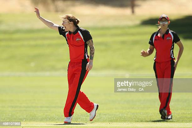Sarah Coyte of the Scorpions appeals a wicket during the WNCL match between South Australia and Queensland at Railsways Oval on November 21 2015 in...