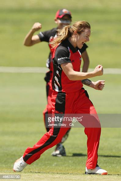 Sarah Coyte of the Scorpions celebrates a wicket during the WNCL match between South Australia and Tasmania at Railways Oval on November 22 2015 in...