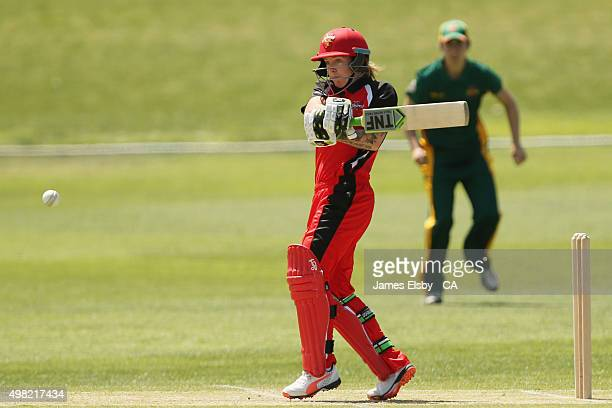 Sarah Coyte of the Scorpions plays a shot during the WNCL match between South Australia and Tasmania at Railways Oval on November 22 2015 in Adelaide...