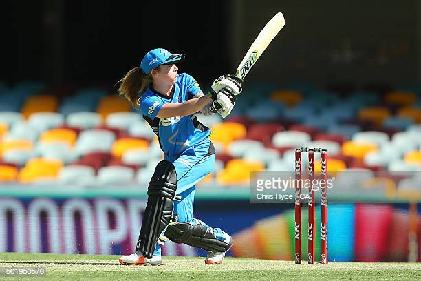 Sarah Coyte of the Strikers bats during the Women's Big Bash League match between the Brisbane Heat and the Adelaide Strikers at The Gabba on...
