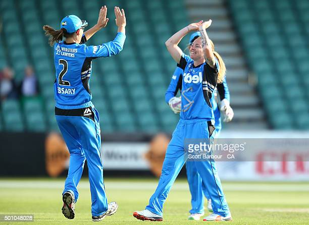 Sarah Coyte of the Strikers celebrates after dismissing Corinne Hall of the Hurricanes during the Women's Big Bash League match between the Hobart...