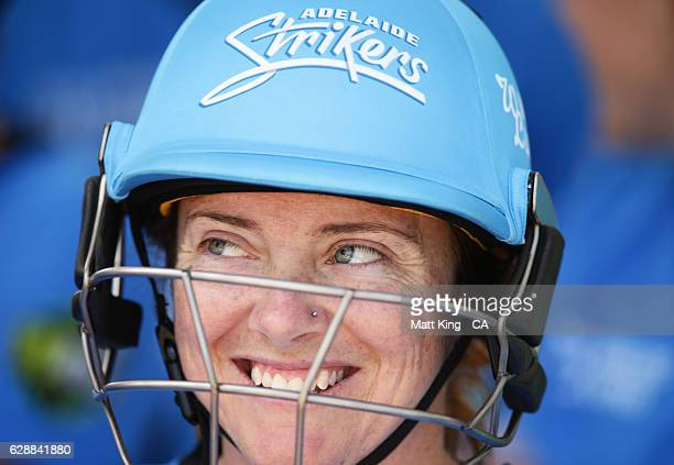 Sarah Coyte of the Strikers prepares to bat during the Women's Big Bash League match between the Adelaide Strikers and the Melbourne Renegades at...