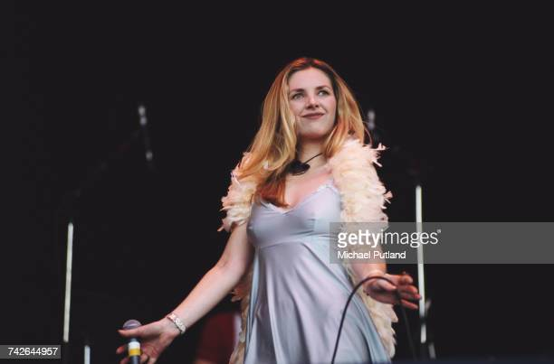 Sarah Cracknell of English band Saint Etienne performs live on stage on the Pyramid Stage at the 1994 Glastonbury Festival near Pilton Somerset on...
