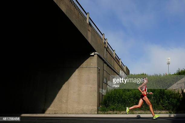 Sarah Cummings of the United States runs during the women's marathon at the Pan Am Games on July 18 2015 in Toronto Ontario