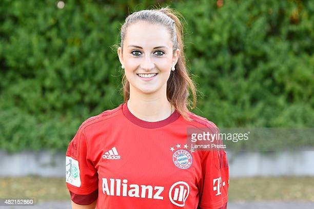 Sarah Daebritz poses during the team presentation of the FC Bayern Muenchen women's team on July 27 2015 in Munich Germany