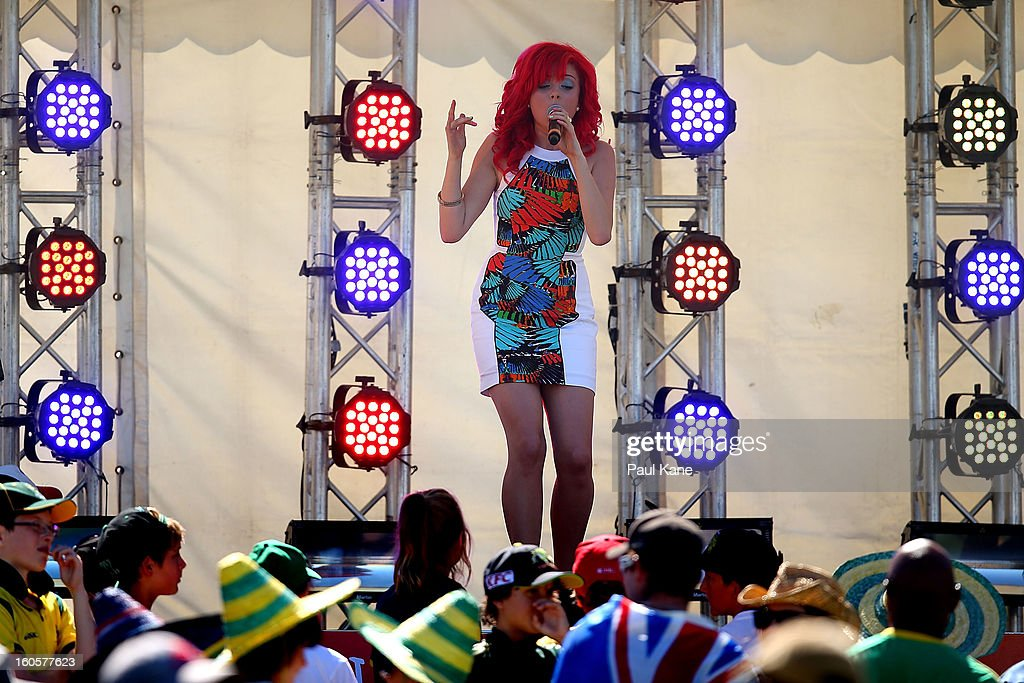 Sarah De Bono performs at the innings break during game two of the Commonwealth Bank One Day International Series between Australia and the West Indies at WACA on February 3, 2013 in Perth, Australia.