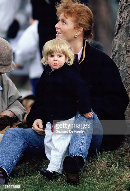 Sarah Duchess of York and her daughter Princess Beatrice at the Royal Windsor Horse Show on May 12 1990 in Windsor England