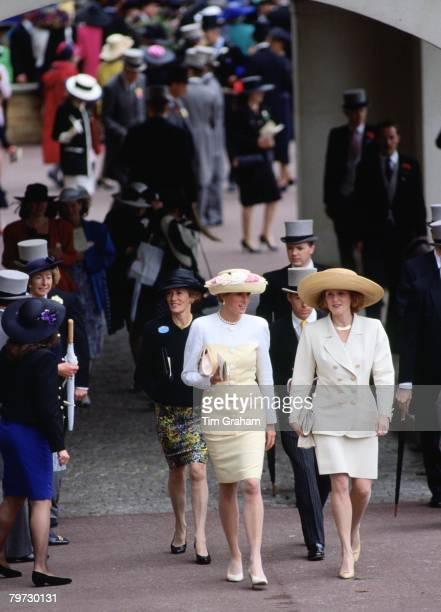 Sarah Duchess of York and Princess Diana at Royal Ascot Races