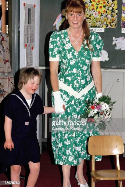 Sarah Duchess of York visits a school during her trip to Germany on May 25 1989 in Berlin Germany