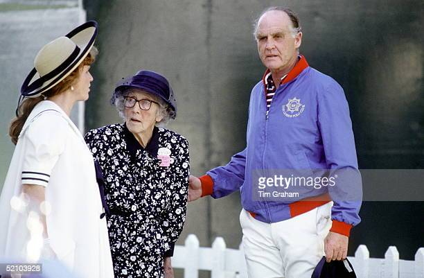 Sarah Duchess Of York With Her Father Major Ronald Ferguson And Her Grandmother Lady Elmhirst At Polo Windsor